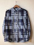 WORKERS Band Collar Shirt Indigo Check-Link