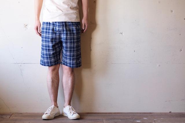 WORKERS EZ Shorts Cotton×Linen Indigo Check-2