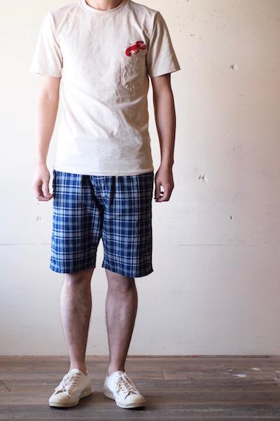WORKERS EZ Shorts Cotton×Linen Indigo Check-3