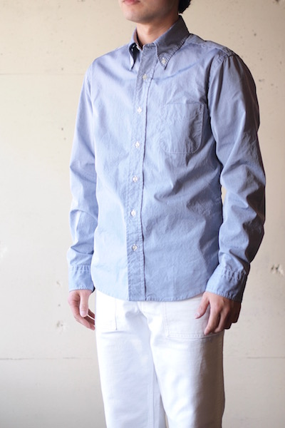 WORKERS Lt. BD Shirt GIZA Broadcloth Blue-3