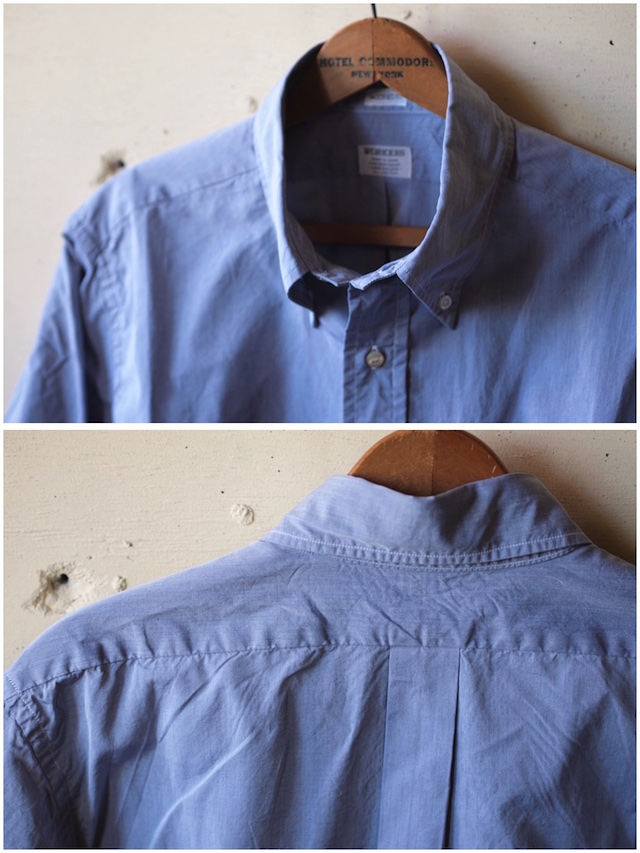 WORKERS Lt. BD Shirt GIZA Broadcloth Blue-5
