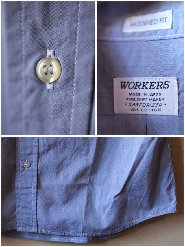WORKERS Lt. BD Shirt GIZA Broadcloth Blue-6