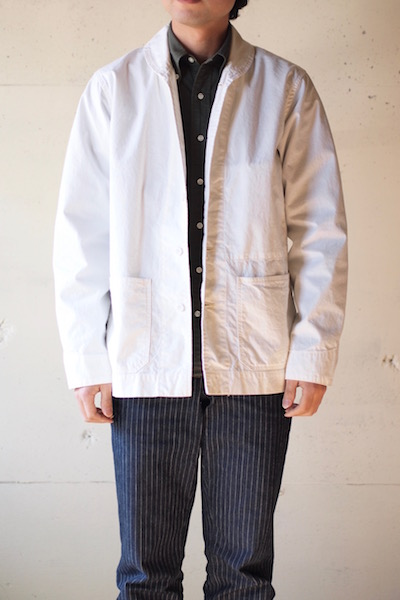 WORKERS Shawl Collar JKT 8oz Chambray White-3