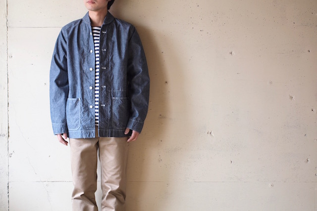 WORKERS Shawl Collar JKT 8oz Indigo Chambray Blue-2
