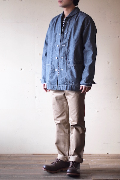 WORKERS Shawl Collar JKT 8oz Indigo Chambray Blue-3