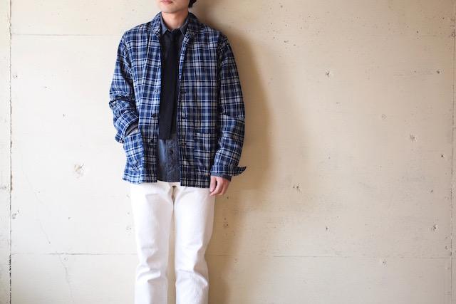 WORKERS Shawl Collar JKT Cotton Linen Indigo Check-2