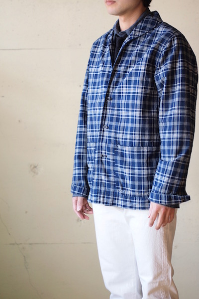 WORKERS Shawl Collar JKT Cotton Linen Indigo Check-3