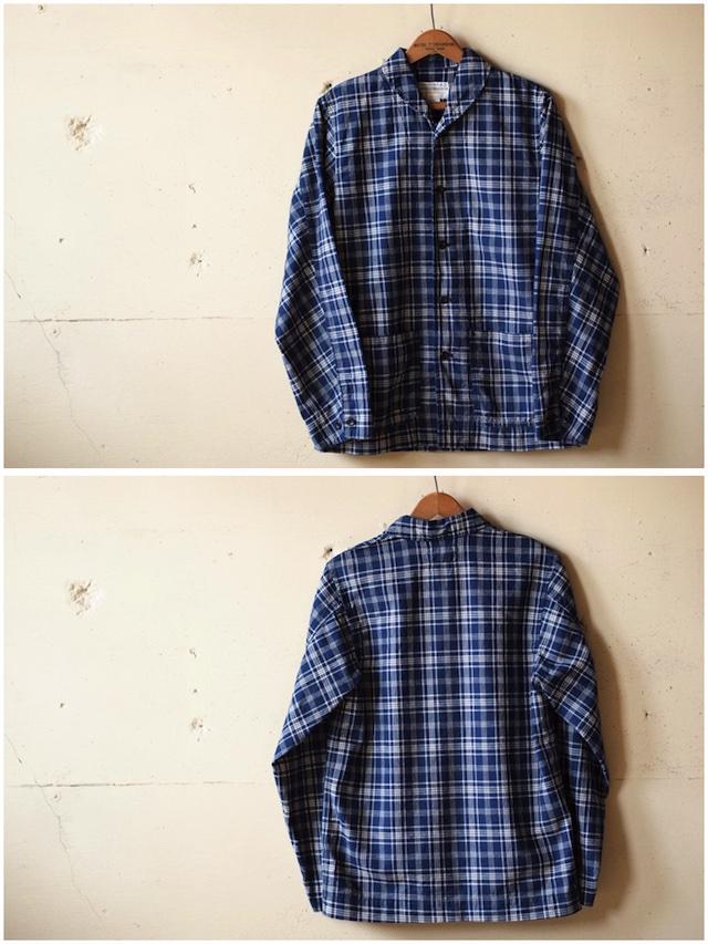 WORKERS Shawl Collar JKT Cotton Linen Indigo Check-4