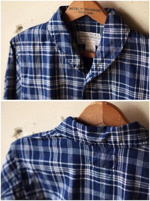 WORKERS Shawl Collar JKT Cotton Linen Indigo Check-5