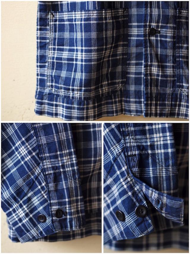 WORKERS Shawl Collar JKT Cotton Linen Indigo Check-6