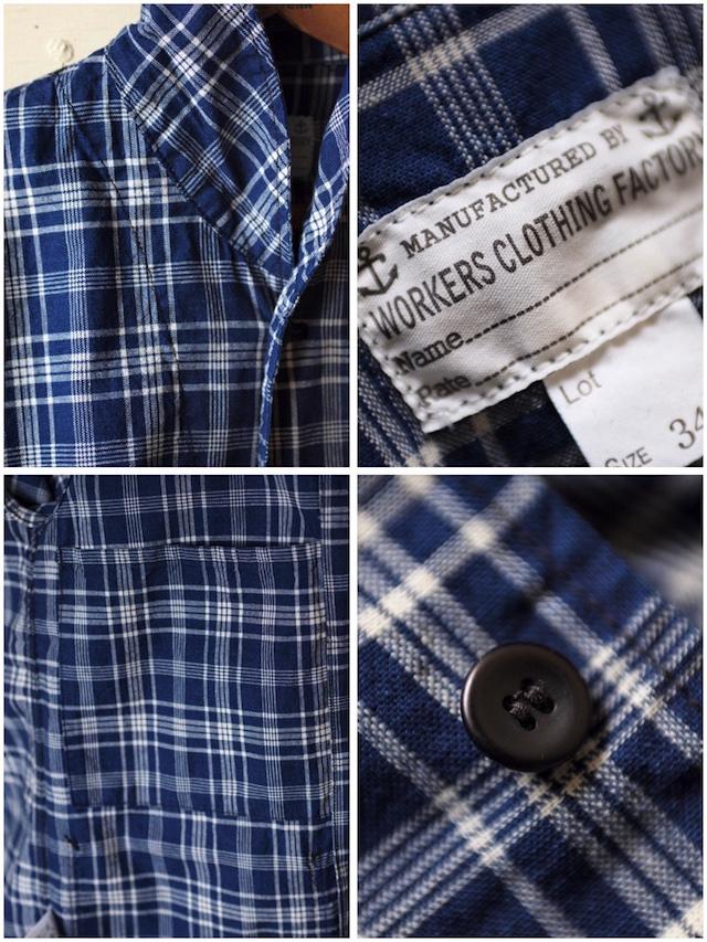WORKERS Shawl Collar JKT Cotton Linen Indigo Check-7