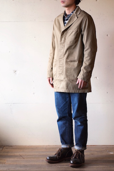WORKERS Shop Coat 8oz Chino Beige-3