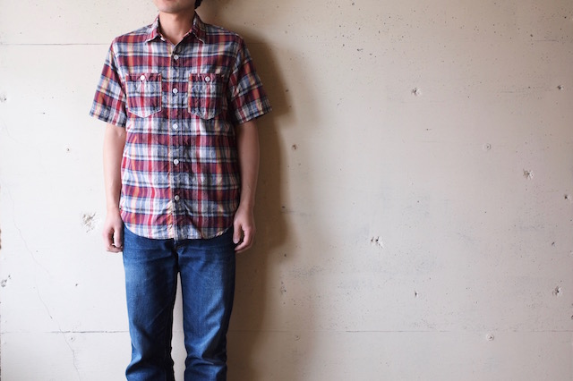 WORKERS Short Sleeve Work Shirt India Madras Red-2