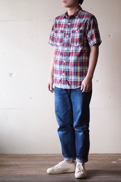 WORKERS Short Sleeve Work Shirt India Madras Red-3