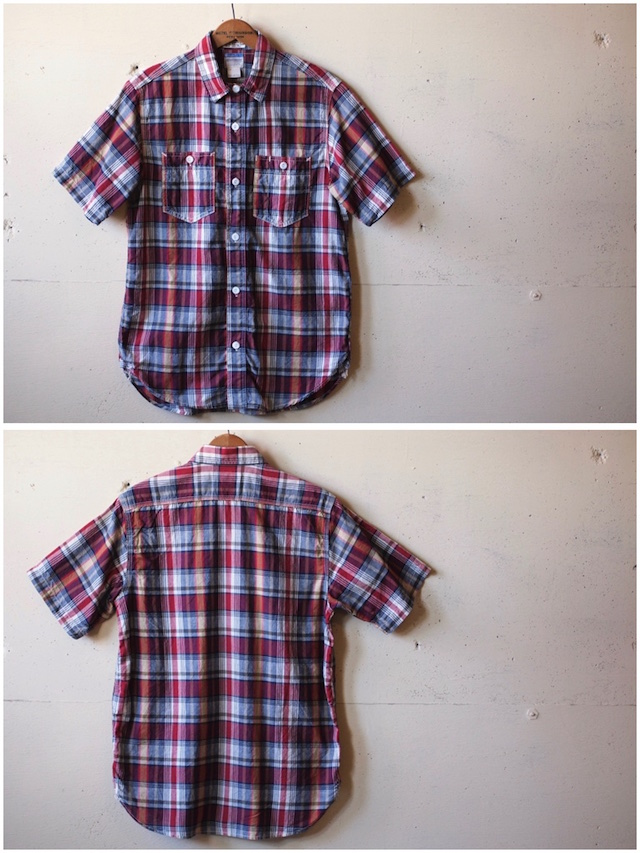 WORKERS Short Sleeve Work Shirt India Madras Red-4