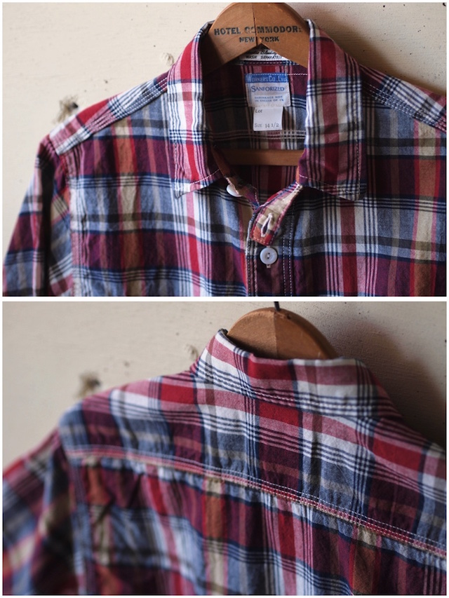 WORKERS Short Sleeve Work Shirt India Madras Red-5
