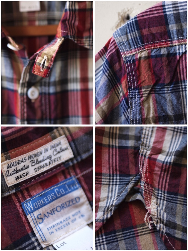 WORKERS Short Sleeve Work Shirt India Madras Red-6
