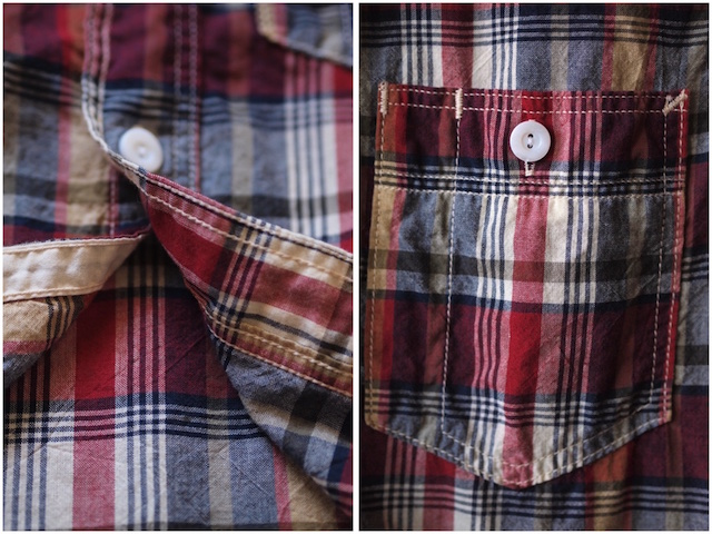 WORKERS Short Sleeve Work Shirt India Madras Red-7