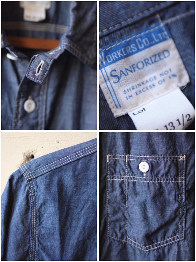 WORKERS Short Sleeve Work Shirt Lt. Chambray Blue-6