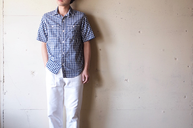 WORKERS Short Sleeve Work Shirt Lt. Chambray Gingham-2
