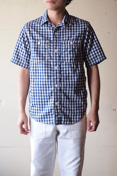 WORKERS Short Sleeve Work Shirt Lt. Chambray Gingham-3