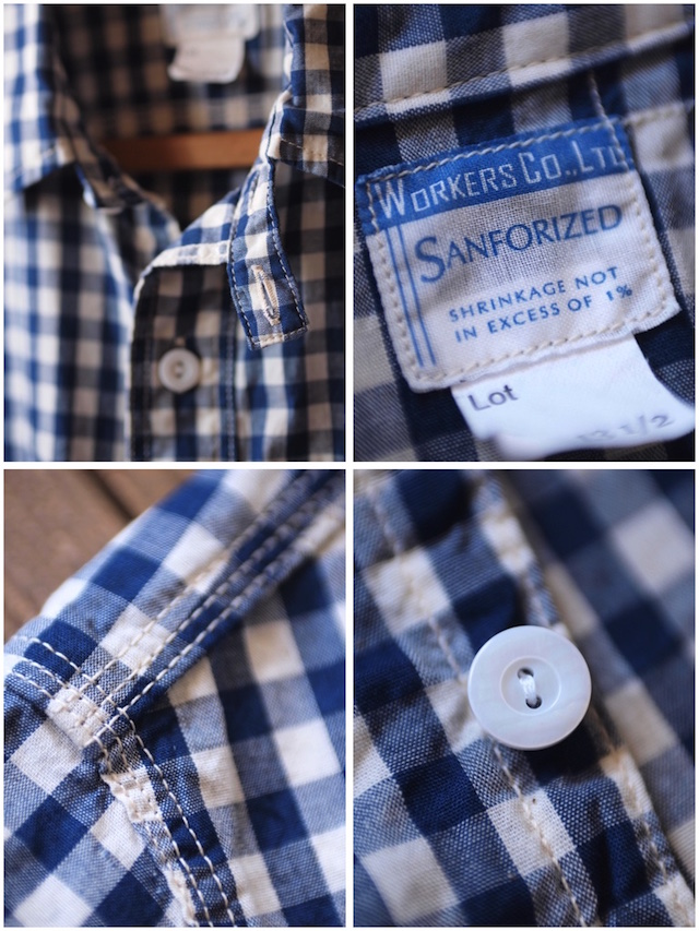 WORKERS Short Sleeve Work Shirt Lt. Chambray Gingham-7