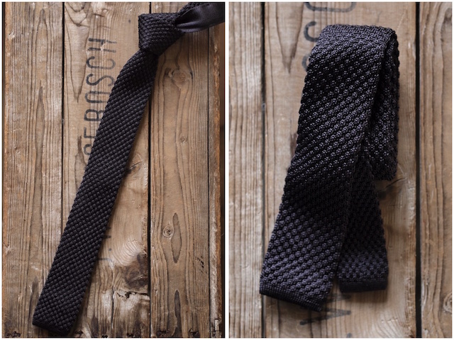 WORKERS Silk Knit Tie Charcoal Grey, Dark Navy-3