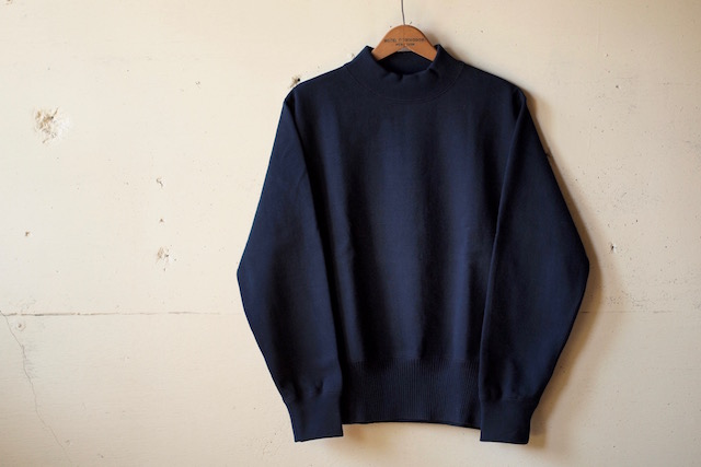 WORKERS USN Cotton Sweater Mock Neck Navy-4
