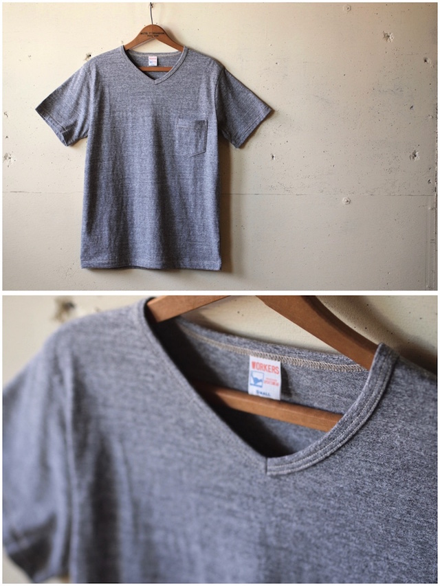 WORKERS V Neck Pocket Tee Grey-2