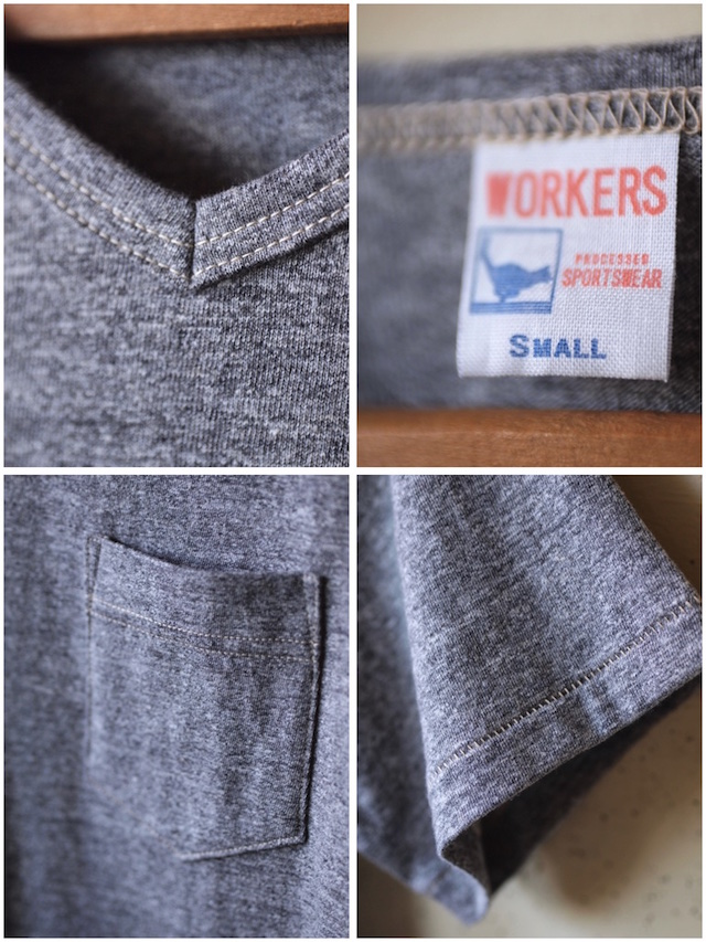 WORKERS V Neck Pocket Tee Grey-3
