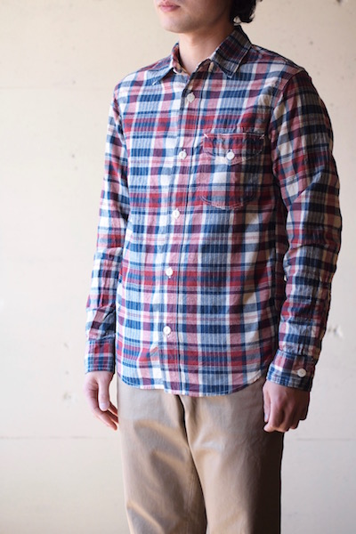 WORKERS Work Shirt 3oz India Madras Red-3